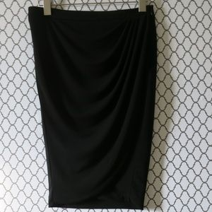 Zara Basic Black Tulip Wrap Pencil Skirt Sz Small